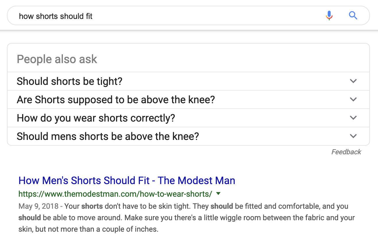 How shorts should fit search results