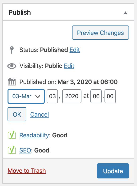 Change publish date in WordPress