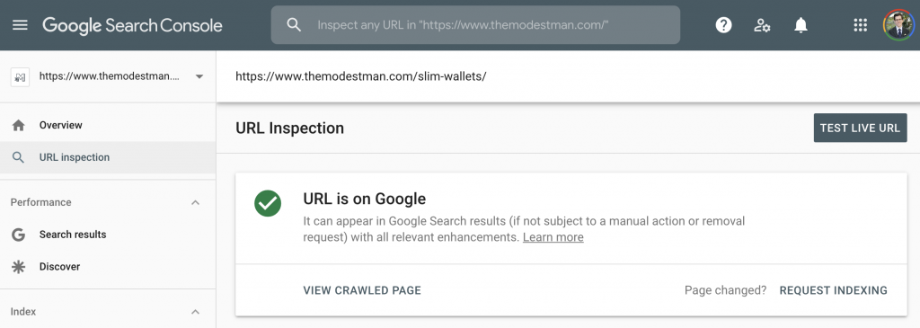 Search Console URL Inspection